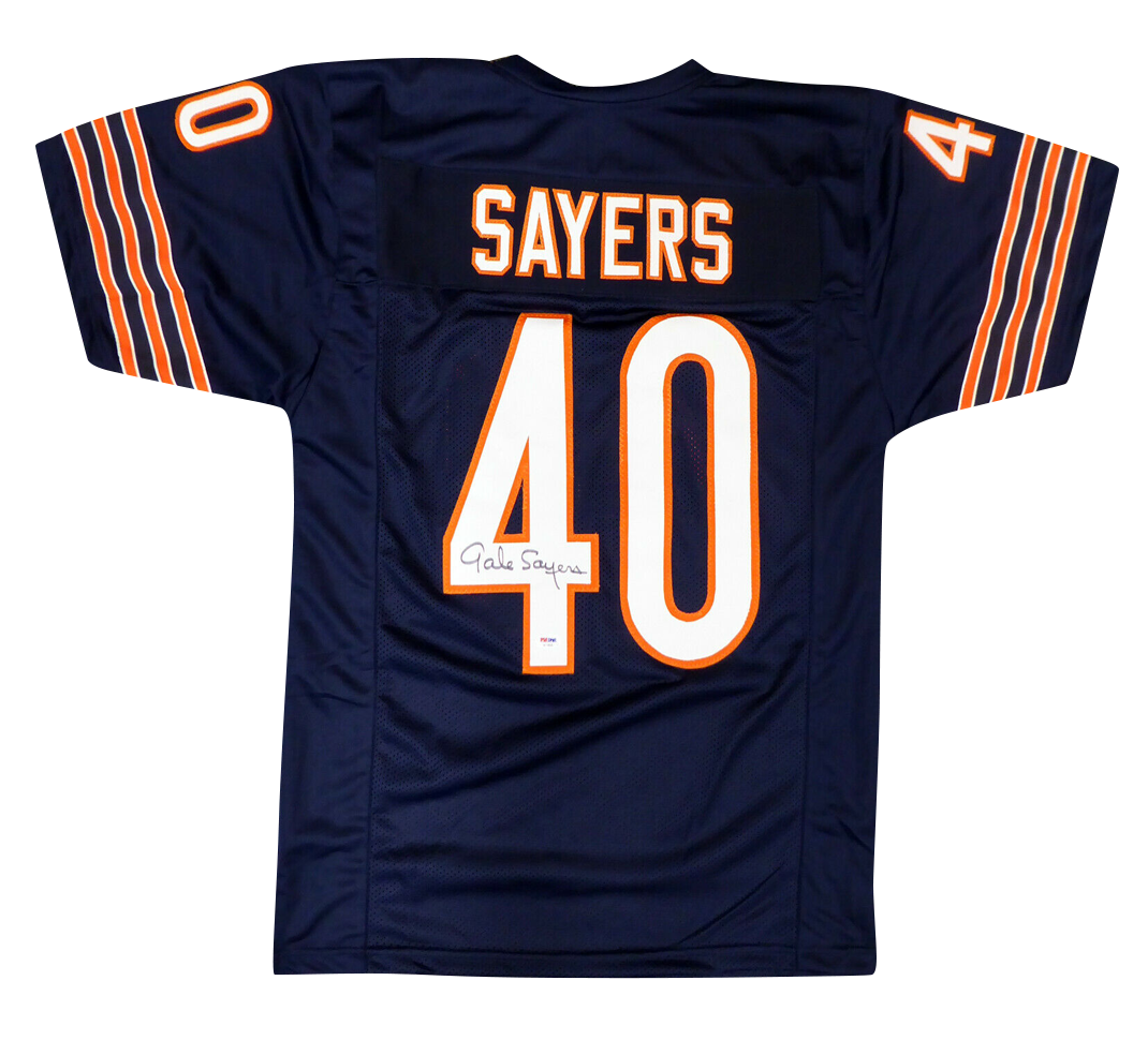 GALE SAYERS CHICAGO BEARS SIGNED BLUE JERSEY (PSA/DNA COA)