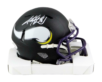 Adrian Peterson Minnesota Vikings Signed Vikings Flat Black Mini Helmet (BAS COA)