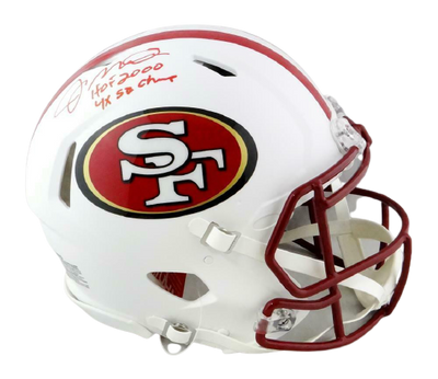 Joe Montana San Francisco 49ers Signed 49ers Full-sized Flat White Authentic Helmet with 2 Insc (BAS COA)