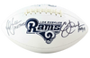 Eric Dickerson / Marshall Faulk Los Angeles Rams Signed Rams Logo Football with HOF BAS COA (St. Louis)