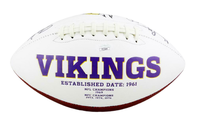 Purple People Eaters Minnesota Vikings Signed Minnesota Vikings Logo Football (JSA COA)