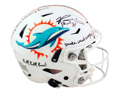 Ricky Williams Miami Dolphins Signed Dolphins Full-sized SpeedFlex Helmet with 3 Insc (BAS COA)
