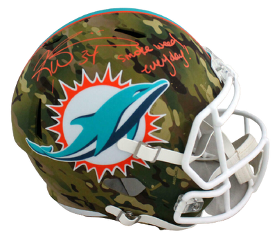 Ricky Williams Miami Dolphins Signed Dolphins Full-sized Camouflage Speed Helmet with SWED (BAS COA)