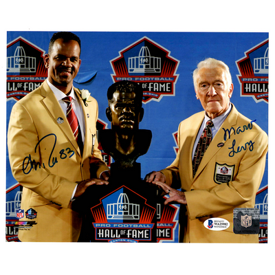 Andre Reed and Marv Levy Buffalo Bills Signed HOF Induction 8x10 Photo (BAS COA)