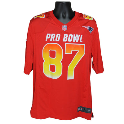 Rob Gronkowski Autographed New England Patriots Pro Bowl Red Nike Jersey w/ Steiner COA