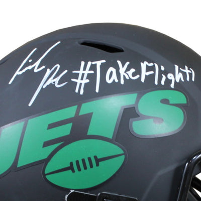 La'Mical Perine Autographed New York Jets Riddell Speed Replica Full Size Helmet w/ Inscription Beckett COA
