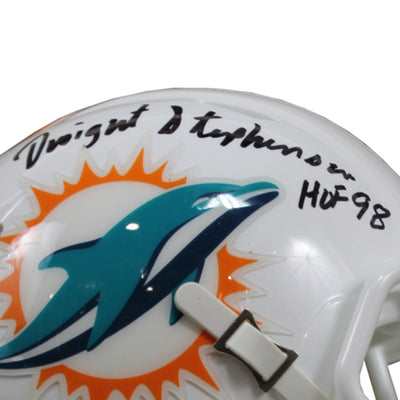 Dwight Stephenson Autographed Miami Dolphins Riddell Speed Mini Helmet w/ Inscription Beckett COA