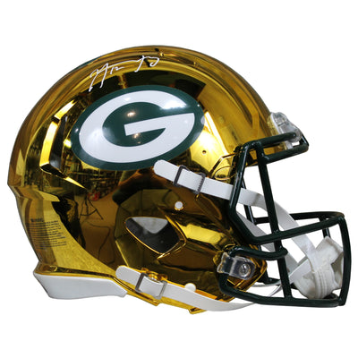 Aaron Rodgers Autographed Green Bay Packers Yellow Chrome Riddell Speed ProLine Full Size Helmet w/ Steiner COA