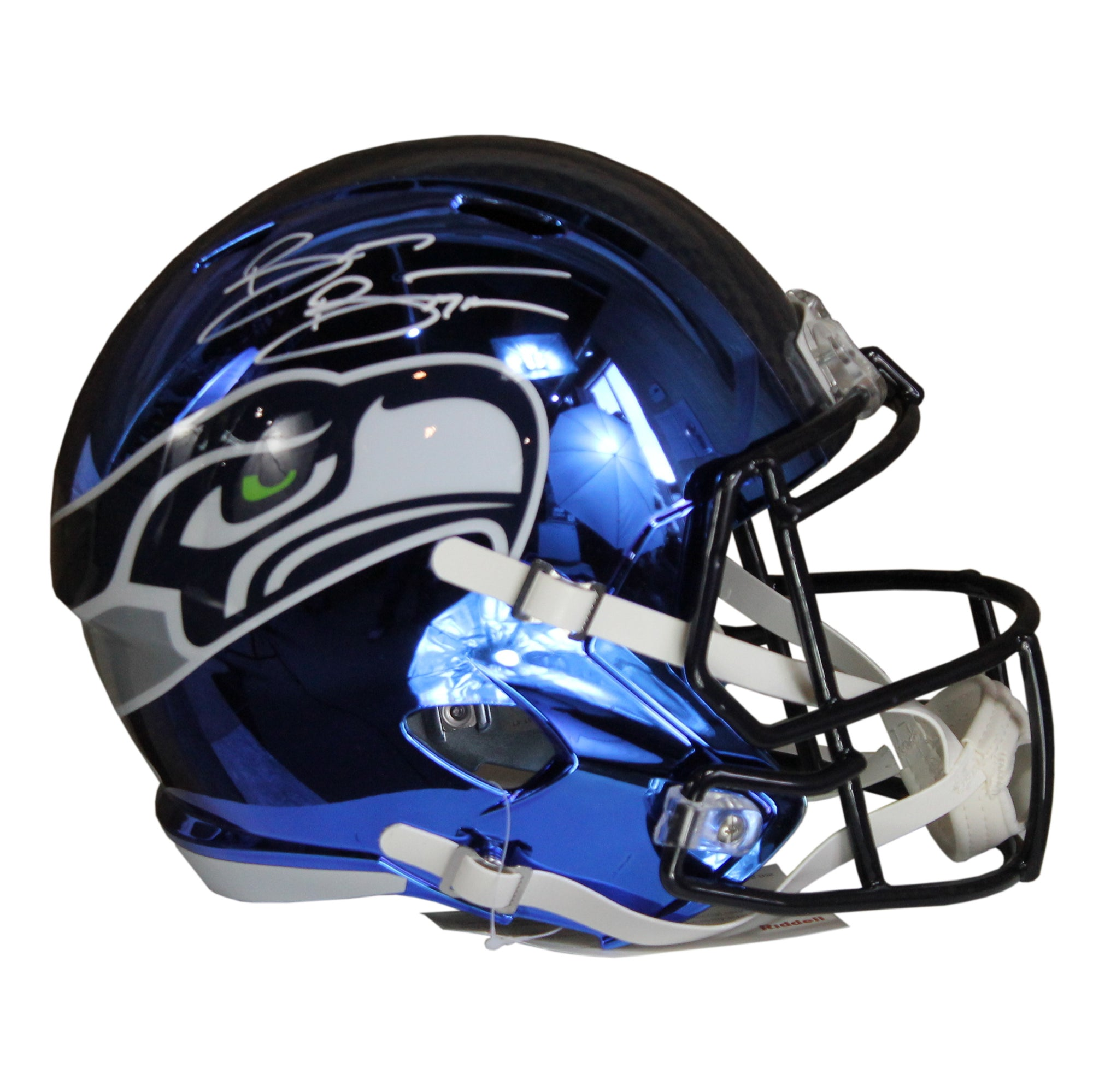 69f8855be2d Brian Bosworth Autographed Seattle Seahawks Blue Chrome Riddell Speed -  Ultimate Autographs