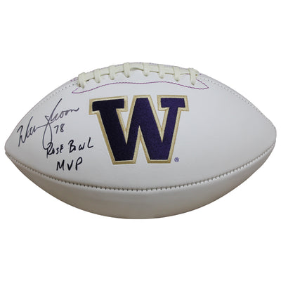 Warren Moon Washington Huskies Signed White Panel Football w/ Inscription  (JSA COA)