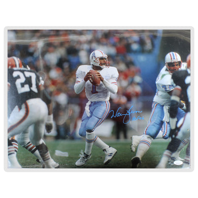 Warren Moon Houston Oilers White Jersey 16x20 Photo  w/ Inscription (JSA COA)