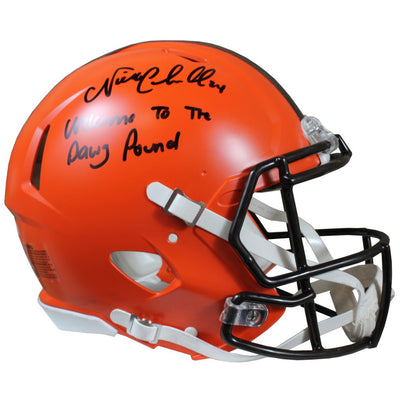 Nick Chubb Autographed Cleveland Browns Riddell Speed Authentic Full Size Helmet w/ Inscription Beckett COA