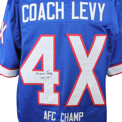 Marv Levy Autographed Buffalo Bills 4X AFC Blue Custom Jersey w/ Beckett COA