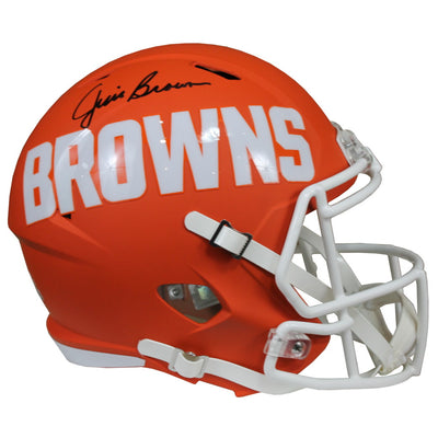 Jim Brown Signed Cleveland Browns Ridell Speed Replica Full Size Orange Amp NFL Helmet