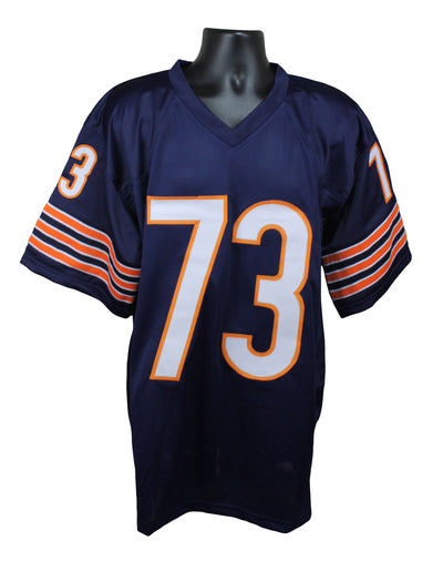 "Mike Hartenstine Autographed Chicago Bears Blue Custom Jersey with ""Bear Down"" & ""SB Champ"" Inscription Beckett COA"