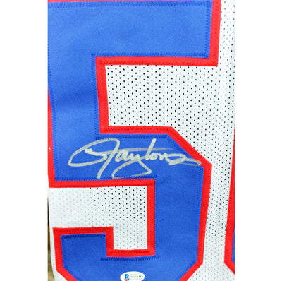 Lawrence Taylor Autographed New York Giants White Custom Jersey w/ Beckett COA