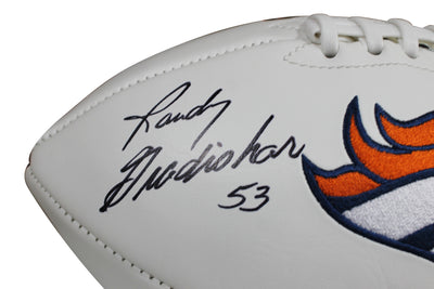 Randy Gradishar Autographed Denver Broncos White Panel Football w/ Inscription Schwartz COA
