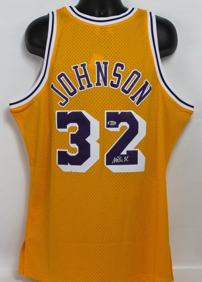 Magic Johnson Autographed Los Angeles Lakers Gold Mitchell & Ness Jersey w/ Beckett COA