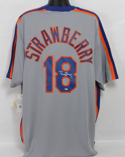 Darryl Strawberry Autographed New York Mets Grey Majestic Jersey w/ Schwartz COA