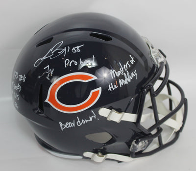 Lance Briggs Autographed Chicago Bears Full Size Speed Riddell Replica Football Helmet w/ Inscriptions JSA COA