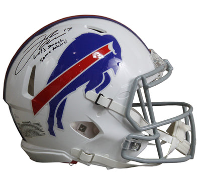 Josh Allen Autographed Buffalo Bills White Riddell Speed ProLine Full Size Helmet w/ Inscription JSA COA