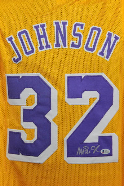 Magic Johnson Los Angeles Lakers Custom Yellow Jersey w/ Beckett COA - Flash Sale