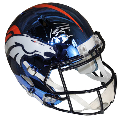 Peyton Manning Autographed Denver Broncos Blue Chrome Riddell Speed Replica Full Size Helmet w/ Fanatics COA