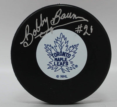 Bobby Baun Autographed Toronto Maple Leafs Hockey Puck w/ A.J. Sports COA