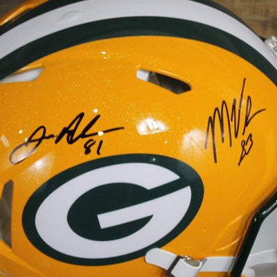 Geronimo Allison & Marquez Valdes-Scantling Autographed Green Bay Packers Yellow Riddell Speed ProLine Full Size Helmet w/ Beckett COA