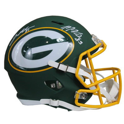 Geronimo Allison & Marquez Valdes-Scantling Signed Green Bay Packers Ridell Speed Replica Full Size Green Amp NFL Helmet