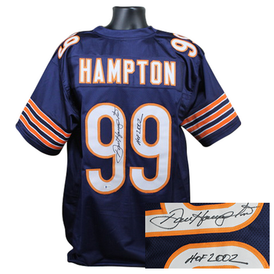 Dan Hampton Chicago Bears Signed Blue Custom Jersey w/ Inscription (BAS COA)