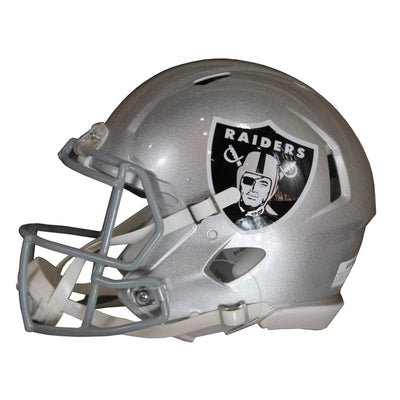 Johnathan Abram Autographed Oakland Raiders Silver Riddell Speed Replica Full Size Helmet w/ Beckett COA
