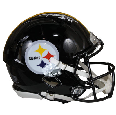 Rod Woodson Autographed Pittsburgh Steelers Black Riddell Speed Replica Full Size Helmet w/ Inscription Beckett COA