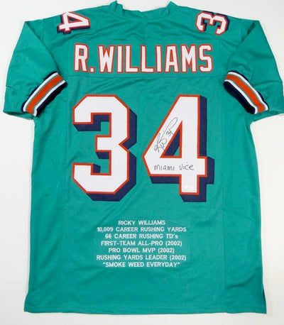 Ricky Williams Miami Dolphins Signed Teal Pro Style STAT Jersey with Miami Vice (JSA COA)