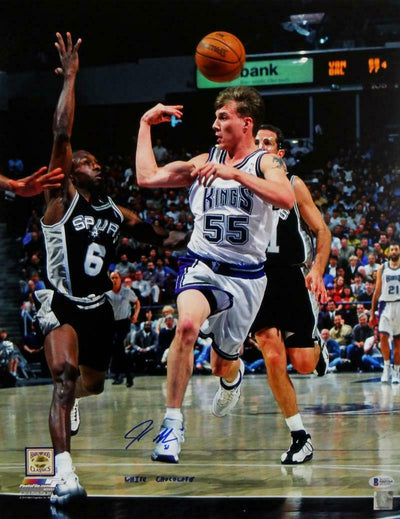 Jason Williams Sacramento Kings Signed Kings 16x20 PF Behind Head Pass Photo with Insc (BAS COA)