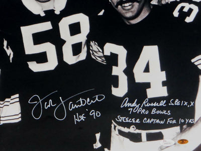 Jack Ham/Jack Lambert/Andy Russell Pittsburgh Steelers Signed 16x20 B&W HOF & Captain Photo *White (JSA COA)