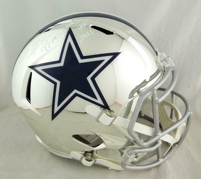 Deion Sanders Dallas Cowboys Signed F/S Chrome Helmet w/2 Insc (BAS COA)