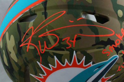 Ricky Williams Miami Dolphins Signed Dolphins Full-sized Camouflage Authentic Helmet with SWED (BAS COA)