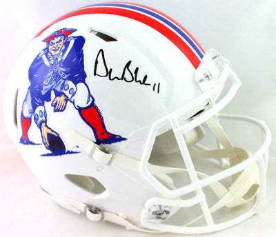 Drew Bledsoe New England Patriots Signed Patriots Full-sized White Speed Authentic Helmet (BAS COA)