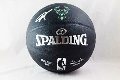 Giannis Antetokounmpo Signed Logo NBA Official Black Basketball (JSA COA)