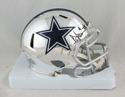 Dak Prescott Dallas Cowboys Signed CHROME Mini Helmet (BAS COA)