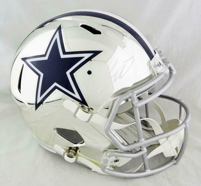 CeeDee Lamb Dallas Cowboys Signed F/S Chrome Speed Helmet (FAN COA)