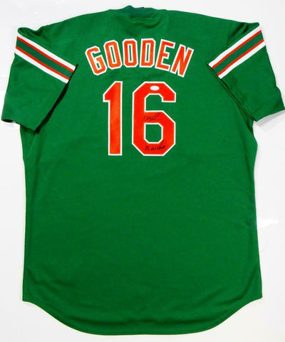 Doc Gooden New York Mets Signed New York Mets Green Majestic Jersey with 86 WS Champs (JSA COA)