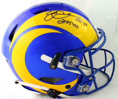 Eric Dickerson Los Angeles Rams Signed LA Rams Full-sized 2020 SpeedFlex Helmet with 2 Insc *Black BAS COA (St. Louis)