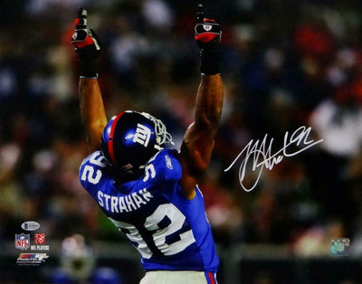 Michael Strahan New York Giants Signed NY Giants 8x10 PF Pointing Up Photo *White (BAS COA)