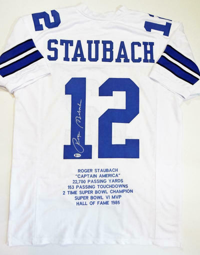 Roger Staubach Autographed White Stat5 Pro Style Jersey (BAS COA)