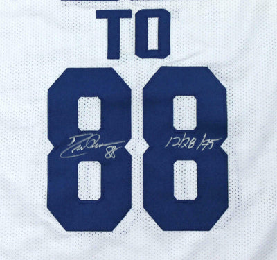 Roger Staubach/Drew Pearson Signed White Pro Style Jersey w/Insc (BAS COA)