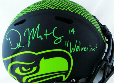 DK Metcalf Seattle Seahawks Signed Seattle Seahawks Full-sized Eclipse Helmet with Insc (BAS COA)