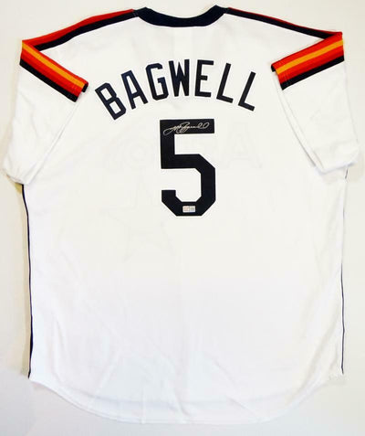 Jeff Bagwell Signed Authentic Rainbow Sleeve Majestic Jersey (TRI COA)