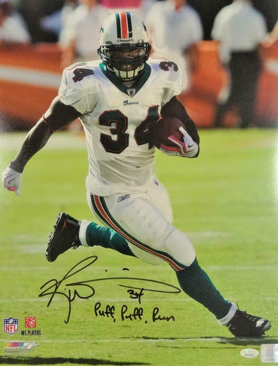 Ricky Williams Miami Dolphins Signed 16x20 Running White Jersey PF Photo with Insc (JSA COA)